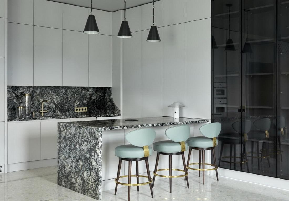 мятные стулья белая кухня