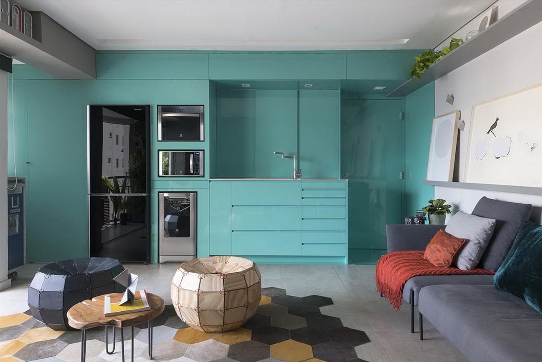 мятная кухня стены